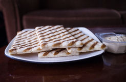 Flatbread on a white plate Stock Photos