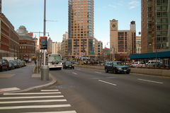 Flatbush Avenue, Brooklyn New York USA. Flatbush Avenue at Myrtle Ave and Gold Street looking toward Manhattan Bridge left of center, Empire State Building right Stock Photography