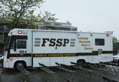 Flatbush Shomrim safety patrol mobile command center in Brooklyn Royalty Free Stock Images