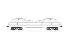 Flatcar with two automobiles. On white. Vector illustration Royalty Free Stock Photos