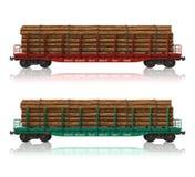 flatcars木料铁路 皇族释放例证