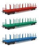 flatcars linii kolejowej set Fotografia Stock