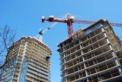 Flatgebouw in aanbouw Royalty-vrije Stock Foto's
