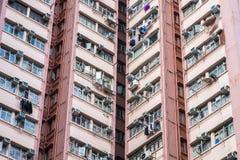 Flatgebouw in Hong Kong Abstracte stadsachtergrond Royalty-vrije Stock Afbeeldingen