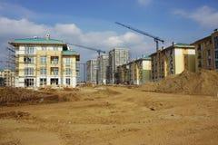 Flatgebouwen constructon plaats Royalty-vrije Stock Foto's