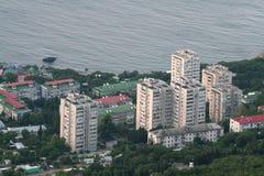 Flatgebouwen in Foros (de Krim) stock foto's