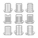 Flatgebouwpictogrammen Stock Foto's