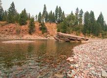 Flathead i Łaciasty Niedźwiadkowy rzeki miejsce spotkania w Bob Marshall pustkowia terenie podczas 2017 spadków ogieni w Montana  Obrazy Stock