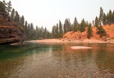 Flathead and Spotted Bear Rivers meeting point in the Bob Marshall wilderness area during the 2017 fall fires in Montana USA Royalty Free Stock Photography
