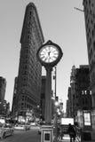 Flatiron大厦和第五大道时钟 库存照片