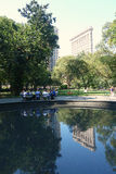 Flatiron大厦和麦迪逊广场公园 库存照片