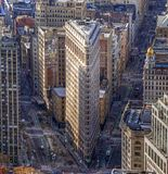 Flatiron Building, New York. The Flatiron Building is a triangular 22-story steel-framed landmarked building located on Fifth Avenue in Manhattan, New York City Stock Photos