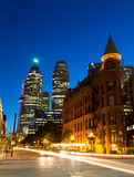 Flatiron and Downtown Toronto at Night Stock Image