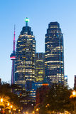Flatiron and Downtown Toronto at Night stock photo