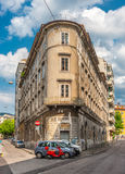 Flatiron house in italian city of Trieste, Macelleria Rocco, Butcher's shop, May of 2015, Italy Royalty Free Stock Images