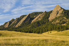 Flatiron Morning Light Boulder Colorado. The early morning light hitting the Boulder Colorado flatirons. The Flatirons are rock formations in Boulder, Colorado Royalty Free Stock Photography