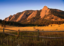 Flatiron Mountain Vista in Boulder. Colorado. A view of the Flatiron rock formations, part of the Rocky Mountain foothills just outside Boulder, Colorado Stock Photos