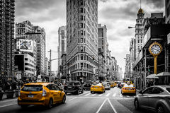 Flatiron and the Yellow Cabs Royalty Free Stock Photo