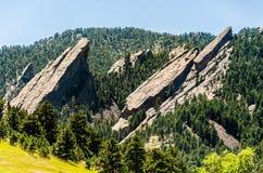FlatIrons岩层巨石城科罗拉多 免版税库存照片