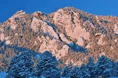 Flatirons śnieg Gromadzący się fotografia royalty free