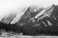 Flatirons of Boulder in the winter. Flatirons of Boulder, Colorado in the winter; foothill mountains, granite slabs, at the foot of the Rocky mountains; mountain Royalty Free Stock Images