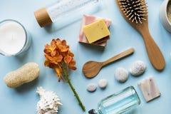 Flatlay έννοια αντικειμένων Skincare aromatherapy Στοκ Εικόνες