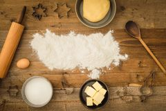 Basic baking ingredients Royalty Free Stock Photo