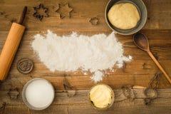 Basic baking ingredients Royalty Free Stock Photography