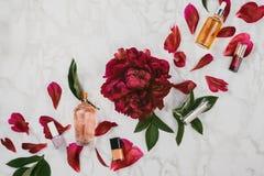 Flatlay de divers produits de beauté et cosmétiques sérum, lustres de lèvre, vernis à ongles etc. images libres de droits