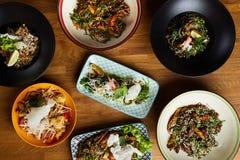 Flatlay de la comida asiática fotografía de archivo