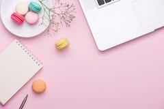 Flatlay do portátil, macaron do bolo e copo do chá na tabela cor-de-rosa Seja imagens de stock royalty free