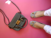 Flatlay im Rosa Stockfotos