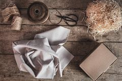 Flatlay, materials for eco-friendly and sustainably wrapping a gift