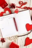 Flatlay per il 14 febbraio immagine stock libera da diritti