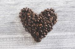 Flatlay Photo of Heart Shaped Coffee Beans Royalty Free Stock Images