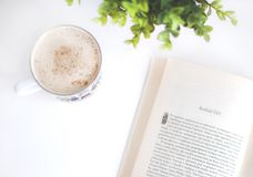 Flatlay Photography of Book and Cup Stock Photo