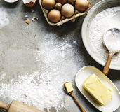 Flatlay of preparation pastry homemade recipe for bake Stock Images