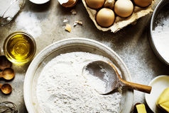 Flatlay of preparation pastry homemade recipe for bake Royalty Free Stock Image