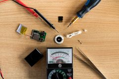 Flatlay repair mp3 player on the table royalty free stock photo