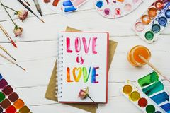 Flatlay of sketchbook with handlettering inscription royalty free stock photography