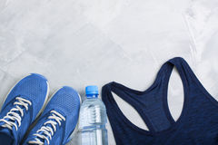 Flatlay sport composition with sport equipment outfit. Royalty Free Stock Photos