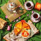 Flatlay teatime Zdjęcie Royalty Free