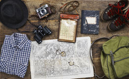 Flatlay top hiking old Stock Image