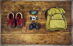 Flatlay top hiking retro binoculars Royalty Free Stock Images