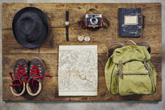 Flatlay top hiking retro fedora Royalty Free Stock Images