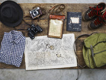 Flatlay top hiking retro Stock Images