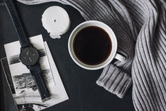 Flatlay of winter sweater and coffee stock photos