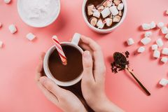 Flatlay of woman`s hands holding vegan hot cotoclate with coconut cream, chocolate and vegetarian marshmallow