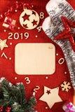 Flatlayachtergrond voor het nieuwe jaar royalty-vrije stock foto