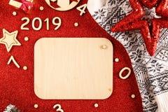 Flatlayachtergrond voor het nieuwe jaar royalty-vrije stock fotografie
